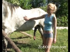 Blonde and horse enjoying hot outdoor bestiality